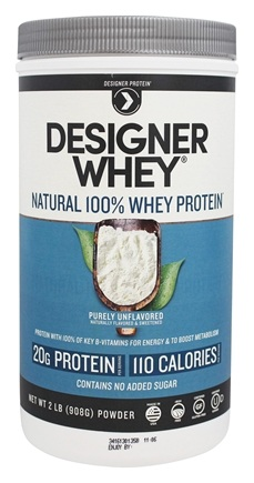 Designer Protein - Designer Whey Natural 100% Whey Protein Purely Unflavored - 2 lbs.