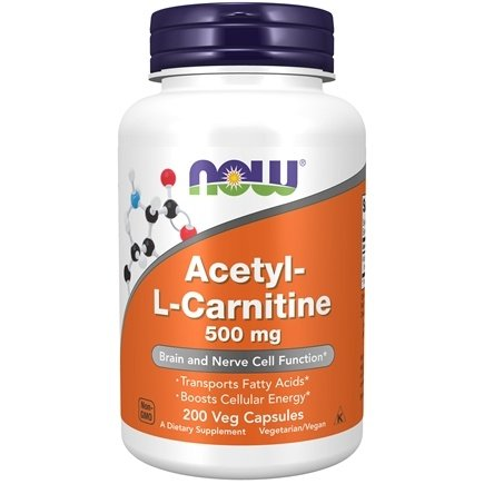 NOW Foods - Acetyl-L Carnitine 500 mg. - 200 Vegetarian Capsules