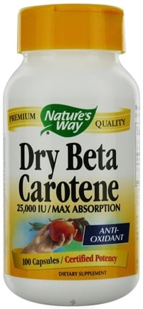 DROPPED: Nature's Way - Dry Beta Carotene- Certified Potency CLEARANCE PRICED - 100 Capsules