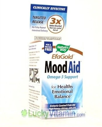 DROPPED: Nature's Way - EfaGold Mood Aid - Omega-3 Support for Healthy Emotional Balance - 60 Softgels