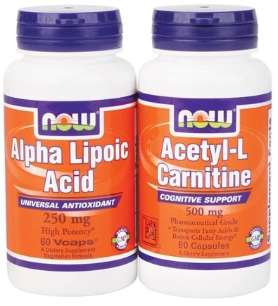 DROPPED: NOW Foods - Alpha Lipoic Acid 250Mg 60 Vegetarian Capsules & Acetyl-L-Carnitine 500Mg - 50 Capsules