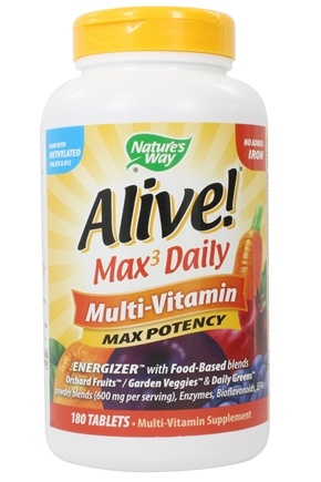 Nature's Way - Alive Multi-Vitamin Whole Food Energizer No Iron Added - 180 Tablets