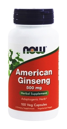 NOW Foods - American Ginseng 5% Ginsenoside 500 mg. - 100 Capsules