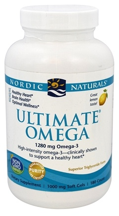 Nordic Naturals - Ultimate Omega Purified Fish Oil Lemon 1000 mg. - 180 Softgels
