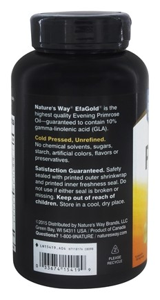 Evening Primrose Oil High Potency EFA Gold with 10% GLA 1300 mg  - 120  Softgels by Nature's Way