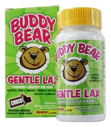 DROPPED: Renew Life - Buddy Bear Gentle Laxative for Children Chocolate - 60 Chewable Tablets