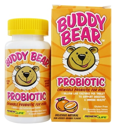 DROPPED: Renew Life - Buddy Bear Probiotic for Kids Orange - 60 Chewable Tablets