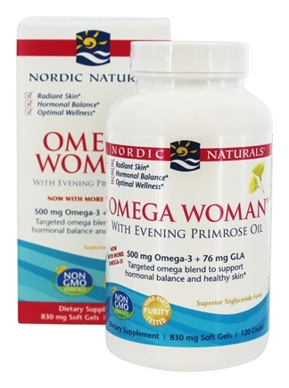 Nordic Naturals - Omega Woman Evening with Evening Primrose Oil Lemon 500 mg. - 120 Softgels