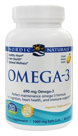 Nordic Naturals - Omega-3 Formula Purified Fish Oil Lemon 1000 mg. - 60 Softgels