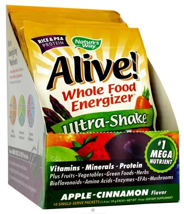 DROPPED: Nature's Way - Alive Rice/Pea Ultra-Shake Apple & Cinnamon - 10 Packet(s)