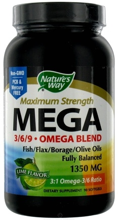 DROPPED: Nature's Way - Mega 3 6 9 Omega EFA Blend Lime 1350 mg. - 90 Softgels