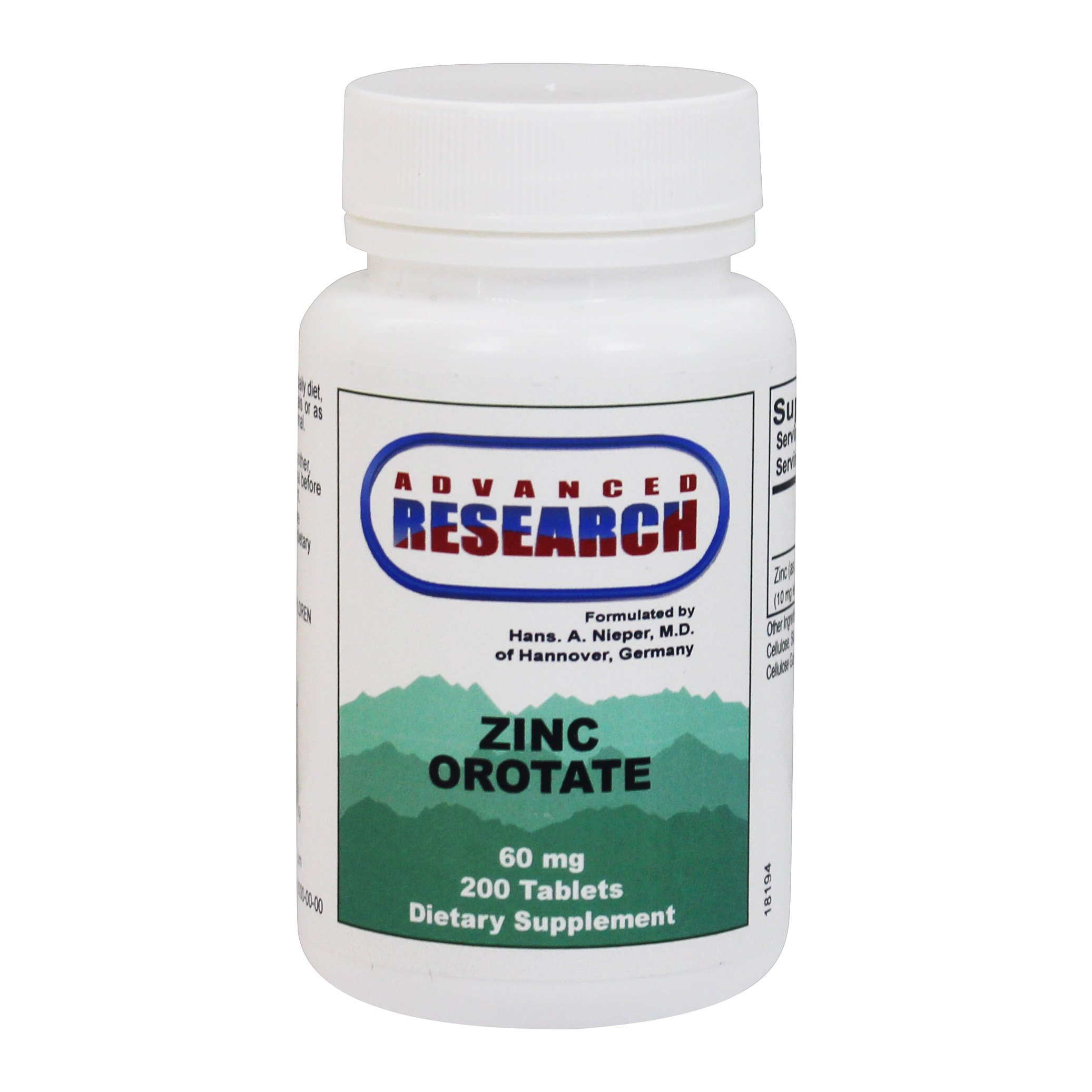 Advanced Research - Zinc Orotate 60 mg. - 200 Tablets