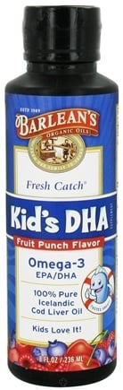 DROPPED: Barlean's - Fresh Catch Kid's DHA Omega-3 Fruit Punch Flavor - 8 oz.