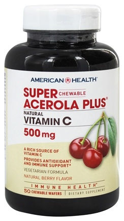 DROPPED: American Health - Super Acerola Plus Natural Vitamin C Chewable Natural Berry Flavor 500 Mg. - 50 Chewable Wafers