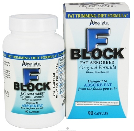 DROPPED: Absolute Nutrition - F-Block Fat Absorber Original Fat Trimming Diet Formula - 90 Capsules CLEARANCE PRICED