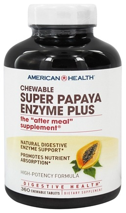 American Health - Super Papaya Enzyme Plus Chewable High Potency - 360 Chewable Tablets