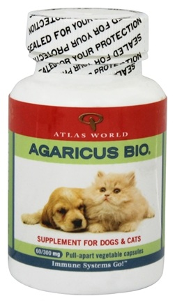 Atlas World - Agaricus Bio Supplement For Cats & Dogs 300 mg. - 60 Capsules