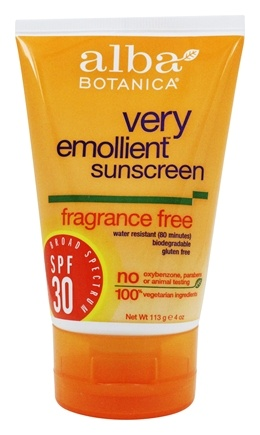 Alba Botanica - Very Emollient Natural Protection Sunblock Fragrance Free 30 SPF - 4 oz.