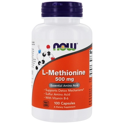 NOW Foods - L-Methionine 500 mg + B-6 10 mg 500 mg. - 100 Capsules