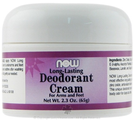 DROPPED: NOW Foods - Long Lasting Deodorant Cream - 2.3 oz.
