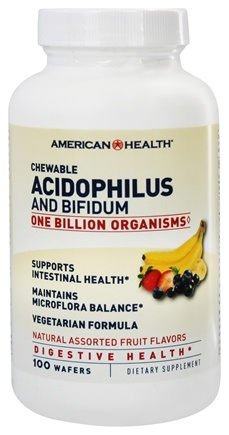 American Health - Acidophilus Chewable with Bifidus Assorted Natural Fruit Flavors - 100 Wafers
