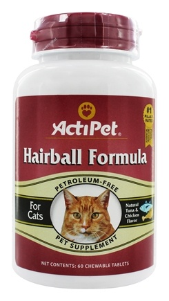 ActiPet - Hairball Formula For Cats - 60 Chewable Tablets
