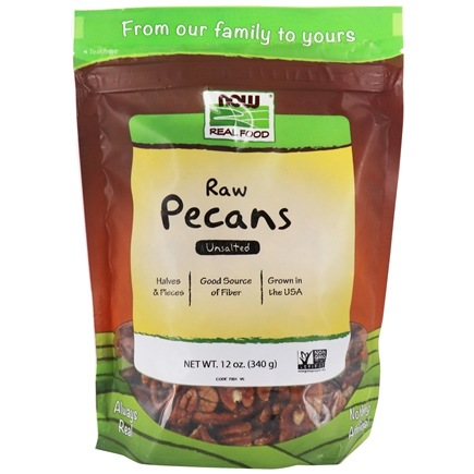 NOW Foods - Pecan Raw Halves and Pieces Unsalted - 12 oz.