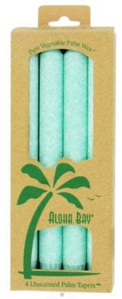 DROPPED: Aloha Bay - Palm Tapers Unscented Candles Light Green - 4 Pack CLEARANCE PRICED