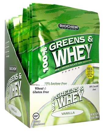DROPPED: Biochem by Country Life - 100% Greens & Whey Powder Packet Vanilla - 1 oz.