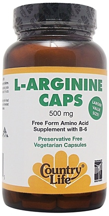 DROPPED: Country Life - L-Arginine Caps Free Form Amino Acid Supplement with B6 500 mg. - 50 Vegetarian Capsules CLEARANCE PRICED