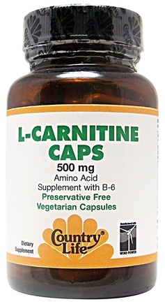 DROPPED: Country Life - L-Carnitine Caps Amino Acid Supplement with B6 500 mg. - 60 Vegetarian Capsules CLEARANCE PRICED