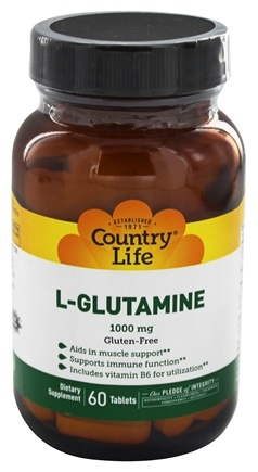 DROPPED: Country Life - L-Glutamine Free Form Amino Acid Supplement with B6 1000 mg. - 60 Tablets
