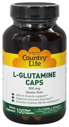 DROPPED: Country Life - L-Glutamine Caps Free Form Amino Acid Supplement with B6 500 mg. - 100 Vegetarian Capsules