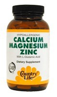 DROPPED: Country Life - Calcium Magnesium Zinc with L-Glutamic Acid - 100 Tablets