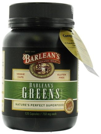DROPPED: Barlean's - Greens 750 mg. - 120 Vegetarian Capsules CLEARANCE PRICED