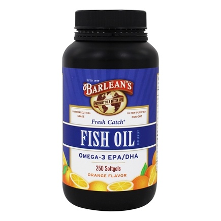 Barlean's - Fresh Catch Fish Oil Omega-3 EPA/DHA Orange Flavor - 250 Softgels