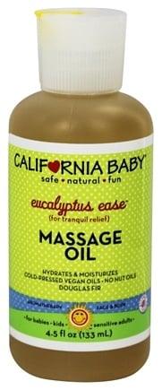 California Baby - Aromatherapy Massage Oil All Natural Eucalyptus Ease - 4.5 oz.