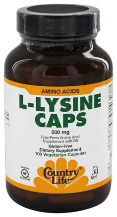 Country Life - L-Lysine Free Form Amino Acid Supplement with B6 500 mg. - 100 Vegetarian Capsules