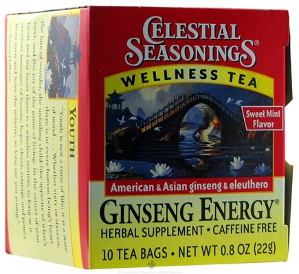 DROPPED: Celestial Seasonings - Ginseng Energy Wellness Tea Caffeine Free - 10 Tea Bags