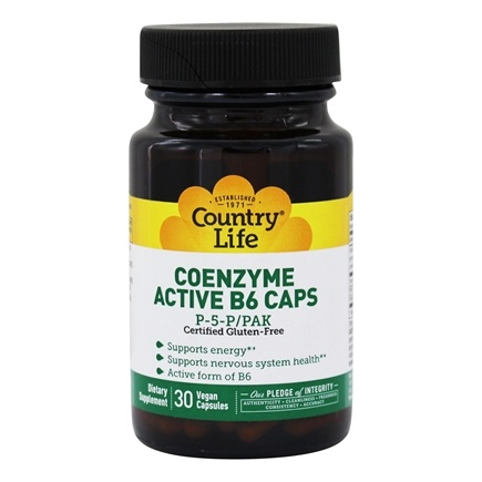 Country Life - Active B-6 Caps Coenzyme P5P/PAK 50 mg. - 30 Capsules