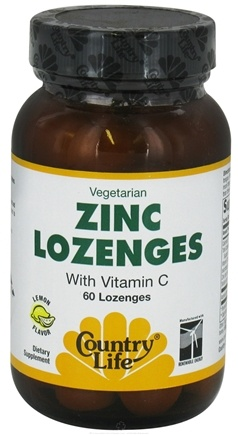 DROPPED: Country Life - Zinc Lozenges with Vitamin C Lemon Flavor - 60 Lozenges CLEARANCE PRICED