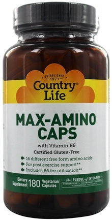 Country Life - Max-Amino Caps with Vitamin B6 - 180 Vegetarian Capsules