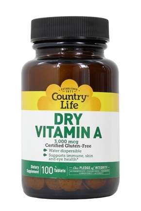 Country Life - Dry Vitamin A 10000 IU - 100 Tablets