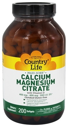Country Life - Maxi-Sorb Cal/Mag Citrate with Vitamin D - 200 Softgels