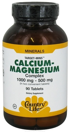 DROPPED: Country Life - Target-Mins Calcium-Magnesium Complex 1000 mg - 500 mg - 90 Tablets CLEARANCE PRICED