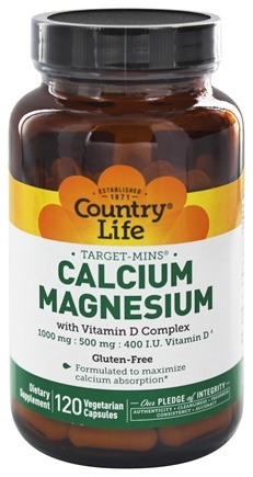 DROPPED: Country Life - Target-Mins Calcium-Magnesium with Vitamin D Complex - 120 Vegetarian Capsules