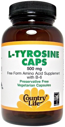 DROPPED: Country Life - L-Tyrosine Caps Free-Form Amino Acid Supplement with B6 500 mg. - 50 Vegetarian Capsules CLEARANCE PRICED