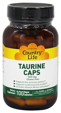Country Life - Taurine Caps Free-Form Amino Acid Supplement with Vitamin B-6 500 mg. - 100 Vegetarian Capsules