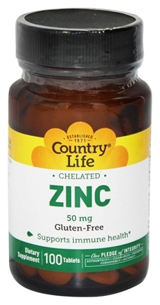 Country Life - Zinc Chelated 50 mg. - 100 Tablets