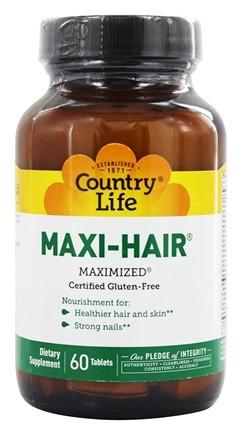 Country Life - Maxi-Hair Maximized Time Release - 60 Tablets